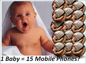 Every 4 seconds 1 baby is born and 15 mobile phones are sold