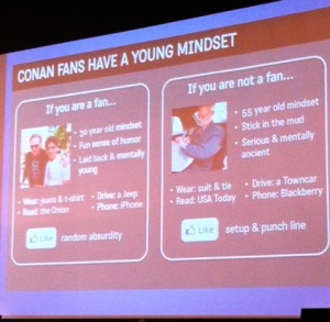 "The ""Young Mindset"" details the Conan fan expectation"
